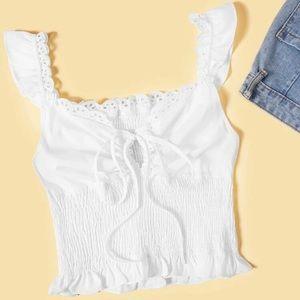 Tie Front Shirred Milkmaid Crop Top